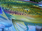 Rainbow Trout Mixed Media Prints - Color Me Trout - Blue Print by Anderson R Moore