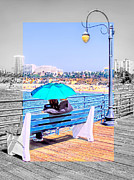 Santa Monica Digital Art Metal Prints - Color My World-SM Pier Metal Print by Jennie Breeze