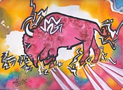 Comanche Paintings - Color of Dance Buffalo by Gayla Hollis