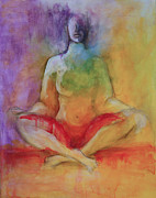 Yoga Pose Paintings - Color of Meditation by Sandra Taylor-Hedges