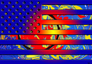 Abstract American Flag Paintings - Color of our Flag by Robert Margetts