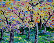 Pallet Knife Prints - Color of the Trees Print by Lisa Rose Musselwhite