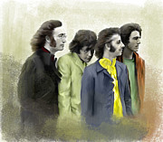 Beatles Drawings Prints - Color of White The Beatles Print by Iconic Images Art Gallery David Pucciarelli