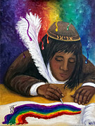Scribe Paintings - Color Oracle And Scribal Anointing by Pamorama Jones