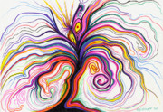 Multicolored Drawing Prints - Color Riot Print by Nina Kuriloff