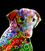 Black Lab Digital Art Metal Prints - Color Splash Abstract Dog Art  Metal Print by Ann Powell