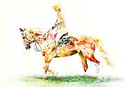 Dressage Horse Originals - Color Splash Original One of A Kind by Lyndsey Warren