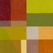 Squares Art - Color Study with Orange and Green by Michelle Calkins