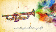 Trumpet Digital Art - Color to My Life by April Gann