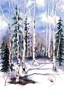 Snow Scene Art - Colorado Aspens 2  by Barbara Jewell