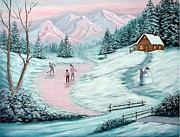 Hockey Print Paintings - Colorado Christmas by Fran Brooks