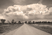 Sepia Photos - Colorado Country Road Stormin Sepia  Skies by James Bo Insogna
