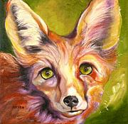 Oil Drawings - Colorado Fox by Susan A Becker
