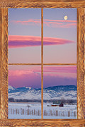 Room With A View Framed Prints - Colorado Moon Sunrise Barn Wood Picture Window View Framed Print by James Bo Insogna