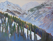 Ski Paintings - Colorado Mountains by Sally Breen
