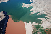 Helicopter Digital Art Originals - Colorado River meets Lake Mead by Mike Thompson