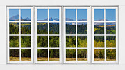 Landscape With Mountains Framed Prints - Colorado Rocky Mountains White Window Frame View Framed Print by James Bo Insogna