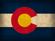 Colorado Mixed Media Prints - Colorado State Flag Art on Worn Canvas Print by Design Turnpike