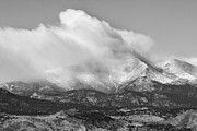Longs Peak Photos - Colorado Twin Peaks Winter Weather View BW by James Bo Insogna
