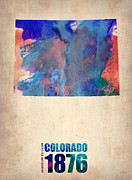 Map Art Digital Art Prints - Colorado Watercolor Map Print by Irina  March