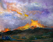Wildfire Paintings - Colorado Wild Fire by Lenora  De Lude
