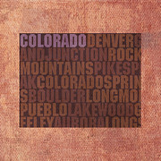 Colorado Mixed Media Prints - Colorado Word Art State Map on Canvas Print by Design Turnpike