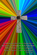 Hallowed Prints - Colorburst Cross With Hosea 13 14 Print by Dave Walton