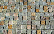 Flooring Prints - Colored Checkered Pavement Print by Terrie Heslop