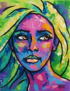 Christine Karron Metal Prints - Colored faces 2 Metal Print by Christine Karron