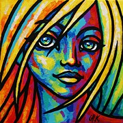 Christine Karron Metal Prints - Colored Faces #4 Metal Print by Christine Karron