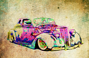 Ford Lowrider Posters - Colored Ford Coupe Poster by Steve McKinzie