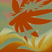 Tangerine Prints - Colored Jungle Orange Splash Print by Ben and Raisa Gertsberg