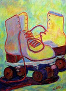 Original Art Pastels Originals - Colored Lights All Over My Skates by Kendall Kessler