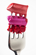Glamorous Photo Prints - Colored lipstick On Fork Print by Garry Gay
