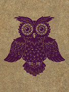 Lino Cut Paintings - Colored Owl 1 of 4  by Kyle Wood