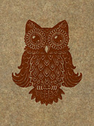 Lino-cut Painting Framed Prints - Colored Owl 2 of 4  Framed Print by Kyle Wood