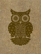 Lino Cut Paintings - Colored Owl 3 of 4  by Kyle Wood