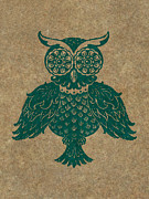 Lino Cut Paintings - Colored Owl 4 of 4  by Kyle Wood