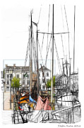 Boat Drawings Prints - Colored Past Print by Stefan Kuhn