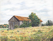 Barn Drawing Posters - Colored Pencil Barn Poster by Marshall Bannister