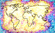 World Map Canvas Photos - Colored World Map by Steve McKinzie
