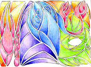 Colorful Abstract Drawing Print by Ray B