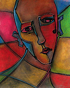 Colored Background Drawings - Colorful Abstract Face by Chris Bradley