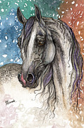 Drawing Painting Originals - Colorful arabian horse  by Angel  Tarantella