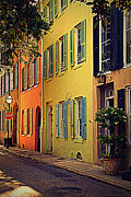 Facades Posters - Colorful Architecture in Charleston Poster by Susanne Van Hulst