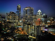 Hyatt Hotel Posters - Colorful Austin Skyline at Night Poster by Kristina Deane