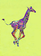 Giraffes Framed Prints - Colorful Baby Giraffe Framed Print by Jane Schnetlage
