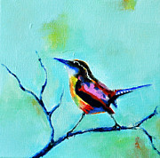 On A Branch Paintings - Colorful bird  by Stefan Peters
