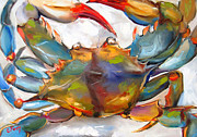 Crab Posters - Colorful Blue Poster by Carole Foret