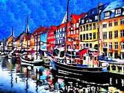 Copenhagen Denmark  Digital Art Prints - Colorful boats in Copenhagen Print by Mihaela Pater